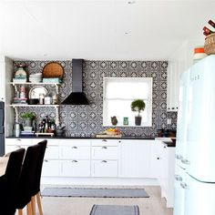 black and white kitchen with handmade arabic cement tiles, by marrakech design, nordic moroccan