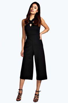 Claire Cross Strap Culotte Jumpsuit #black #cutout #culotte #jumpsuit #fashion #trend #trendy #capris