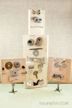 Self Portraits using Loose Parts ~ made with scrap wood, old washers, nuts and bolts