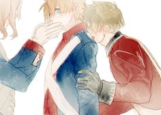 France, America, England. Revolutionary War. Alfred's eyes are kind of haunting... he looks unsure and uncomfortable, idk.