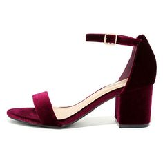 For Real Burgundy Velvet Ankle Strap Heels ($29) ❤ liked on Polyvore featuring shoes, pumps, red, burgundy shoes, ankle strap pumps, bamboo shoes, bamboo pumps and red ankle strap shoes