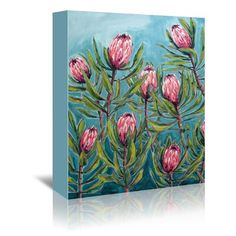 Great for 'Pink Protea Painting' Print by East Urban Home Wall Art Decor from top store Painting Frames, Painting Prints, Art Prints, Paintings, Home Wall Art, Wall Art Decor, Protea Art, Canvas Art, Canvas Prints