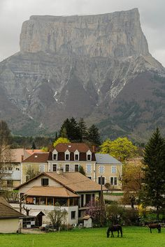 The village of Chichilianne and Mont Aiguille, Rhône-Alpes, France