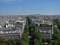 View from Arc de Triomphe, with Sacre Coeur in the distance