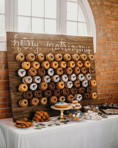 26 Inspiring Chic Wedding Food & Dessert Table Display Ideas okay but how cute and cheesy is this. We can even get them from lickin good donuts Chic Wedding, Dream Wedding, Wedding Day, Trendy Wedding, Wedding Foods, Wedding Things, Wedding Food Tables, Wedding Food Bar Ideas, Diy Wedding Reception Food