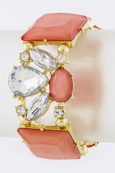Floral Jewel Bracelet - Coral