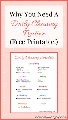 A daily cleaning routine will help you save time and keep your home clean! I laminated this daily cleaning checklist to help keep me motivated. It works!