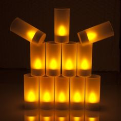 Weanas® 12pcs Rechargeable LED Tea Light Tealights Candles Yellow with Remote Control (I don't like the symmetry of flickering in LED tealights, but the idea of turning on a room full of candles with one button is kind of awesome.)