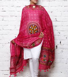 Pink Cotton Dupatta with Kutch Embroidery