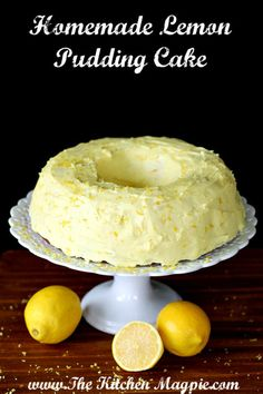 My new Homemade Lemon Pudding Cake. A from-scratch cake using lemon pudding for that extra decadence! Easy, simple & so delicious! Lemon Desserts, Köstliche Desserts, Lemon Recipes, Sweet Recipes, Baking Recipes, Delicious Desserts, Cake Recipes, Dessert Recipes, Cupcakes