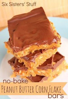 No Bake Peanut Butter Corn Flake Bars | AllFreeCopycatRecipes.com