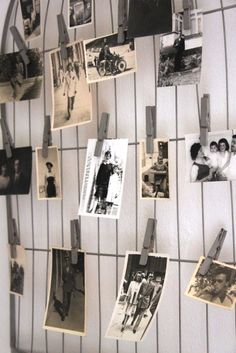 Hanging pictures with #clothes #pins make a cute personal #photo #diy