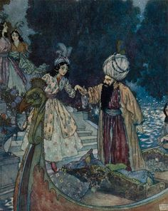 Bluebeard - Edmund Dulac (illustrations for Perrault's Fairy Tales, Art And Illustration, Botanical Illustration, Fairy Tale Illustrations, Edmund Dulac, Arthur Rackham, Vintage Fairies, Fairytale Art, Funny Tattoos, Art Moderne