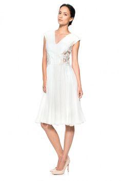 Corded Embroidery on Tulle and Pleated Chiffon Dress | Tadashi Shoji