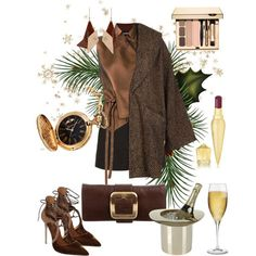Golden brown by jellyfish-c on Polyvore featuring мода, Ann Demeulemeester, Gucci, Le Silla, Michael Kors, STELLA McCARTNEY, Christian Louboutin, Lunares and Riedel