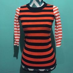 J. Crew top So cute! Perfect condition. Size is xxs but can fit a xs/s also. 3/4 sleeves J. Crew Tops