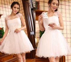 Elegant Pretty Kawaii Princess Cute Sweet Dolly Lolita Slim Lace Dress White