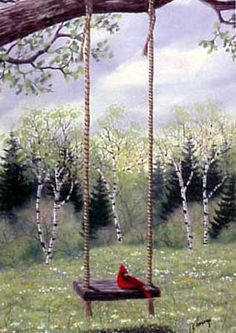 A larger image of Swingtime, a limited edition print of a watercolor painting by Kathy Glasnap of Door County, Wisconsin