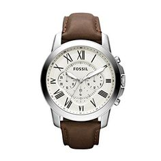 Fossil Men's Chronograph Grant Brown Leather Strap Watch In Brown/eggshell Fossil Watches For Men, Swiss Army Watches, Cool Watches, Stylish Watches, Mens Watches Leather, Leather Men, Patek Philippe, Brown Leather Strap Watch, Men Watches