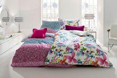 Feinste Bettwäsche aus Mako-Satin mit farbenfrohem Blumenmuster von Fleuresse - Royal Dream.