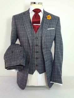 MENS GREY 3 PIECE TWEED SUIT CHECK WEDDING PARTY PROM TAILORED SMART in Clothes, Shoes & Accessories, Men's Clothing, Suits & Tailoring | eBay