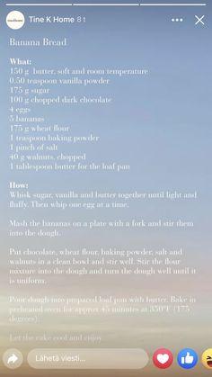 Pinch Of Salt, Loaf Pan, Banana Bread, Vanilla, Butter, Chocolate, Baking, Bakken, Chocolates