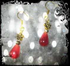 Handmade Gold Hook Earrings with Cherry Quartz Drops by IreneDesign2011