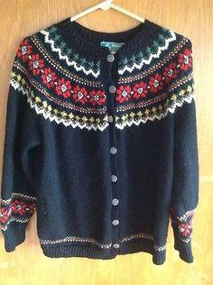 Slalåm 54 - Vintage Norwegian Wool Sweater Cardigan Handknit in Norway Haus | eBay