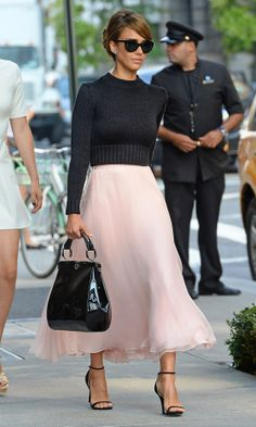 Jessica Alba Shows Off Her Feminine Side In A Floaty Skirt, 2013