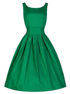 Green Sleeveless Audrey Hepburn Style 50S Retro Vintage Rockabilly Tutu Swing Party Dress