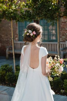Bride wears a low back Jesus Peiro wedding gown. Images by Helen King Photography Wedding Wear, Summer Wedding, Wedding Bells, Garden Wedding, Bridal Gowns, Wedding Gowns, Wedding Venues, Nature Inspired Wedding, Low Back Dresses