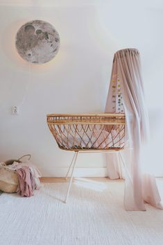 Girl nursery with rotan crib Our nursery with diy moon lamp and crib mobile. Baby Bedroom, Baby Room Decor, Nursery Room, Girl Nursery, Kids Bedroom, Nursery Decor, Boho Nursery, Child's Room, Nursery Neutral