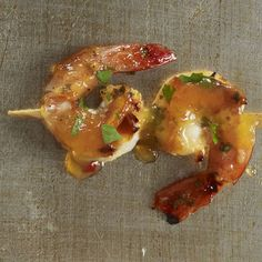 Your guests will drool over this low-calorie appetizer: Spicy Shrimp Skewer. #thanksgiving #recipe | Health.com