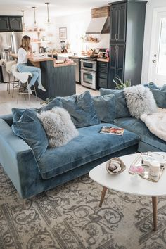 Jess Ann Kirby decorated her living room with the Hugo sectional in vintage sols., Jess Ann Kirby decorated her living room with the Hugo sectional in vintage sols.