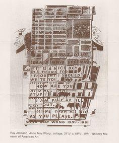 """Ray Johnson, """"Anna May Wong"""" Collage. 1971"""