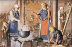 "This is the type of illustration used in the first books about Vikings that were in English. It is where the ""tea towel"" apron idea originated. There's a great article about this called ""But That's How They Look in the Book!"": Viking Women's Garb in Art and Archaeology© 1991, 1999 by Carolyn Priest-Dorman, which you can find at http://www.cs.vassar.edu/~capriest/roach.html"