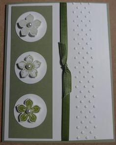 Stampin Up petite petals stamp and punch, CS mellow moss