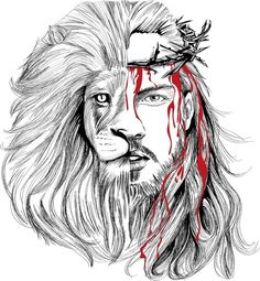 Photo credits to the owner . Jesus Wallpaper, Lion Wallpaper, Jesus Tattoo, Osiris Tattoo, Christus Tattoo, Jesus Drawings, Jesus Artwork, Lion And Lamb, Pictures Of Jesus Christ