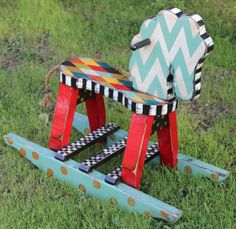 Wooden Rocking Horse Hand Crafted Hand Painted by HeeterDesigns, $245.00 Painted Pony, Hand Painted Rocks, Painted Chairs, Painted Furniture, Wooden Baby Swing, Wood Projects, Furniture Projects, Rocking Horses, Wood Toys