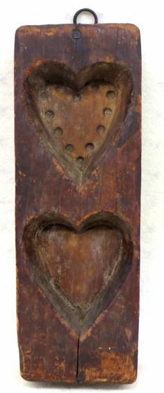 "Primitive double heart maple sugar mold - 19th century. 3.5""W x 10""H x 2""D....~♥~"