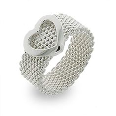 """Tory """"Triumphant"""" Mesh Ring #cateandchloe #jewelry #silver #ring #tory"""