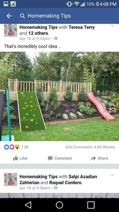 We LOVE The Idea Of Incorporating A Slide And Rock Ledge For Kids Off Back Deck Also Slope Bed Here Is Nice Touch But Would Need More