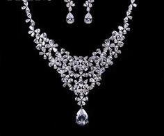 Wedding Diamond Necklace With Teardrop