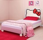 Hello Kitty® Twin Bed-This adorable bed features a fully upholstered headboard with the iconic Hello Kitty silhouette and solid wood construction with delightful round legs in the front. FeaturesUpholstered PU headboardSolid wood legsComplementing ch