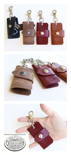Men's Leather Key Case from San Filippo Leather. Custom made leather key chain holder available in 4 different colors.