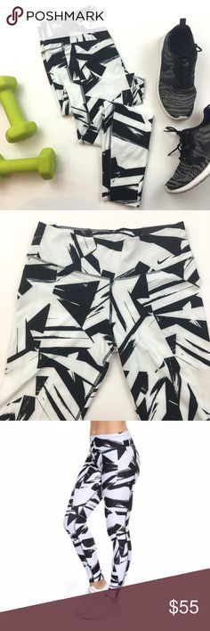 NIKE Dri-Fit Legend 2.0 Floe Training Tights Brand new white and black pattern Nike athletic pants. Interior waistband pocket. Please carefully review each photo before purchase as they are the best descriptors of the item. My price is firm. No trades. First come, first served. Thank you! :) Nike Pants Leggings