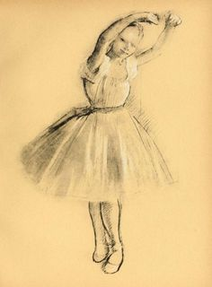 """sketch  """"Petite Danseuse"""", by Edgar Degas.....Edgar Degas (1834 – 1917) was a French artist famous for his paintings, sculptures, prints, and drawings. He is especially identified with the subject of dance; more than half of his works depict dancers. He is regarded as one of the founders of Impressionism, although he rejected the term, and preferred to be called a realist"""