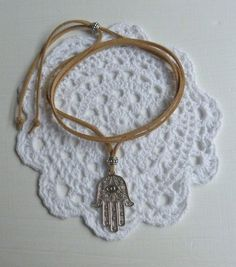 beachcomber hamsa necklace protection necklace natural faux suede by beachcombershop
