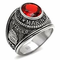 Grade 316 Stamped Stainless Steel United State Mens Marine CZ Ring CostumeFashionJewelry. $19.50