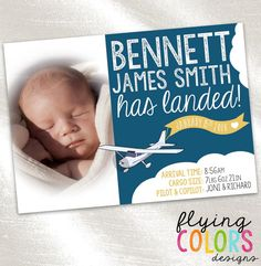 TRAVEL BIRTH ANNOUCEMENT: BABY BOY or GIRL BIRTH ANNOUNCEMENT: Share the news of your babys arrival with this eye-catching personalized travel themed birth announcement!